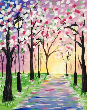 How to Paint Spring Stroll at a Painting with a Twist night out!