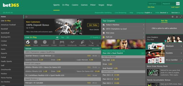 Here'e the front page of bet365
