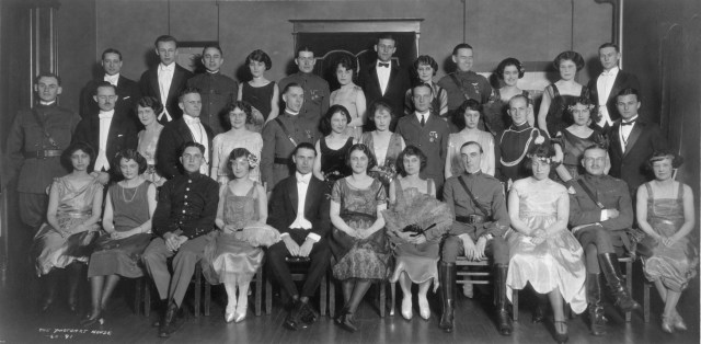 Members of the Phi Alpha Delta student organization pose for a photo in 1923.