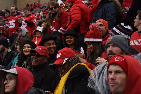 Students watch the 2018 Badgers Homecoming game.