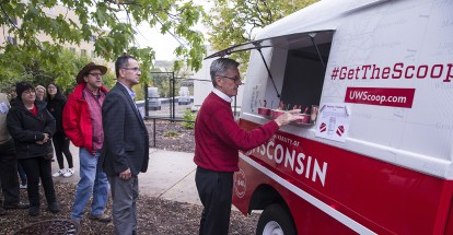 Alumni line up at UW's vintage ice cream truck for a scoop of Marberry v. Madison, UW Law's sesquicentennial ice cream.