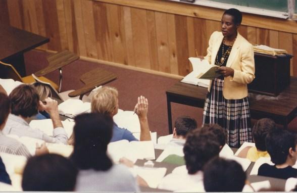 Law professor teaching a class.