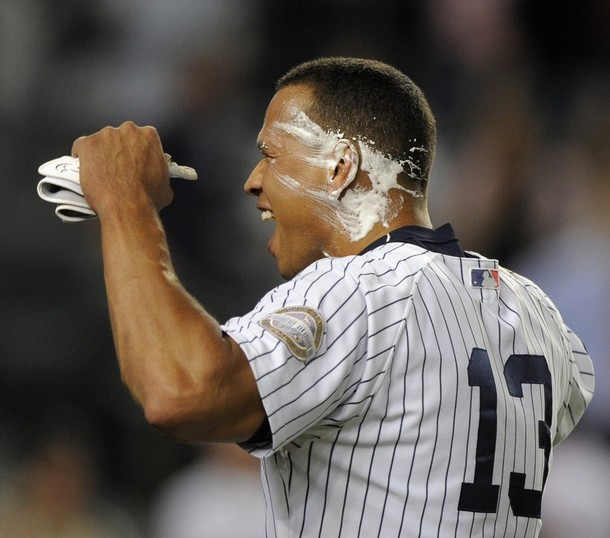 You can't have a Yankee walk off without a pie courtesy of A.J. Burnett.