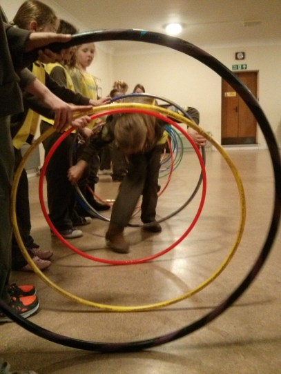 Fun with hula hoops for the Commonwealth Games Challenge Badge.