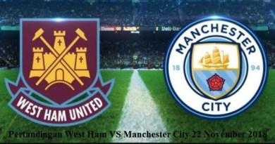 Pertandingan West Ham VS Manchester City 22 November 2018