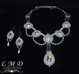 S-16001 Swarovski crystal pearls bugle necklace earrings set