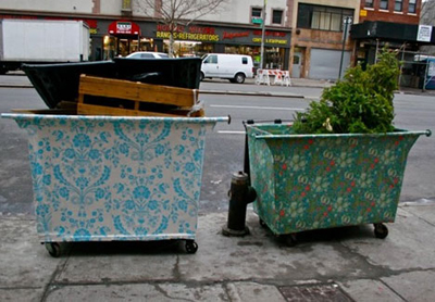 wallpapered dumpsters