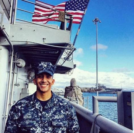 U.S. Navy Petty Officer, Second Class Kevin Moran aboard the USS Boxer.