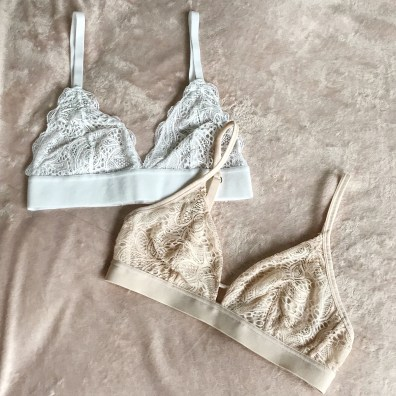Lively Long-lined Lace (top) and Palm Lace Bralettes