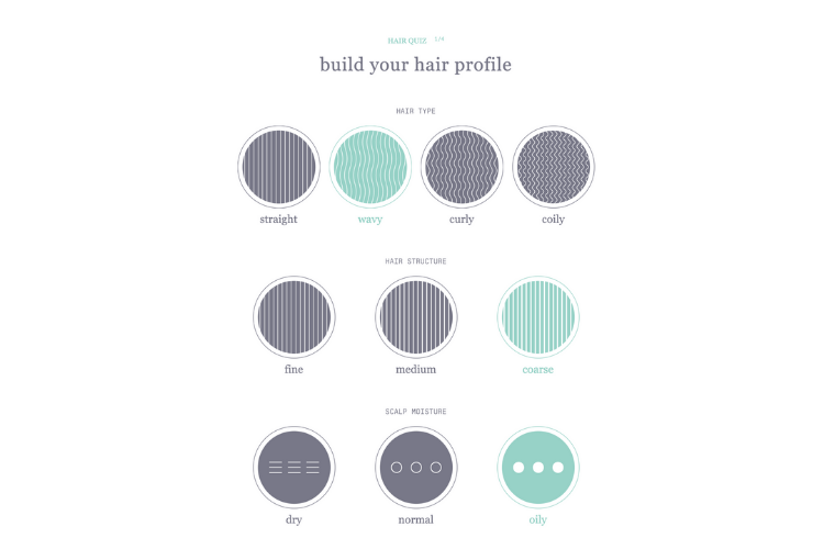 screenshot of Function of Beauty hair quiz profile