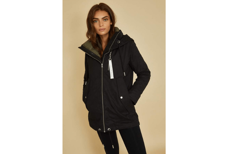 Black three in one jacket with removable liner by Soia & Kyo