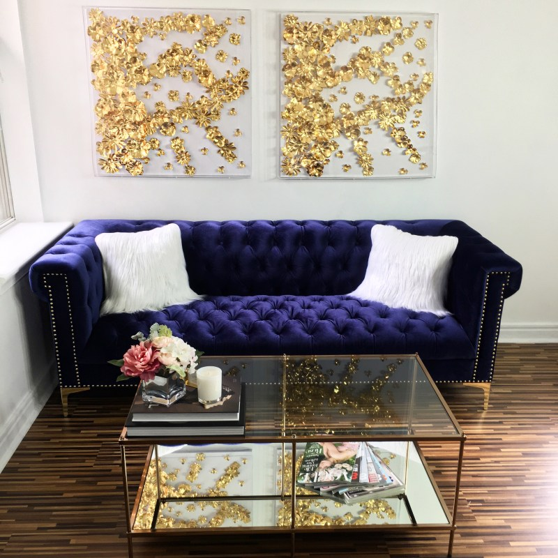 photo of couch and coffee table at Art of Lash studio in Washington, DC