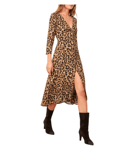 photo of Reformation Alma leopard print dress