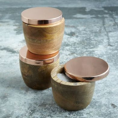west elm wood and copper salt cellar