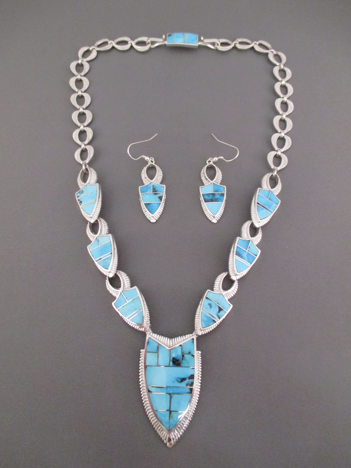 Turquoise Inlay NecklaceEarring Set Turquoise Jewelry