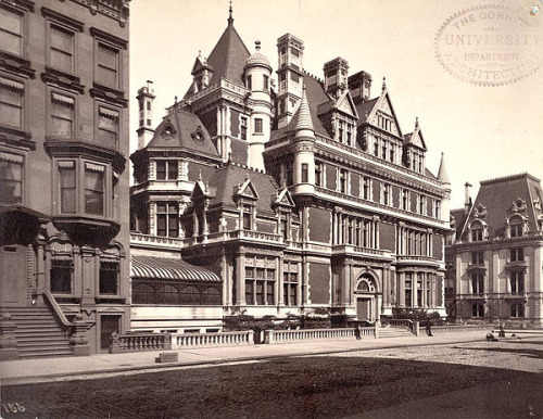 """""""Residence of Cornelius Vanderbilt II Architect:George                Browne Post Building date: 1879-1883 Photograph date: ca. 1883-ca.1895 Notes: Cornelius Vanderbilt II commissioned architect George B.                Post to build a massive, French Chateau-style mansion on Fifth Avenue,                between 57th and 58th Streets, in Manhattan. Post consulted with                Richard Morris Hunt, who built other mansions for the Vanderbilt                family. The building was enlarged and redesigned in 1894, and demolished                in 1927. It was replaced the following year with the Bergdorf Goodman                department store."""" - A.D. White I hate it when buildings like that get demolished."""