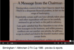 Message from chairman 1986