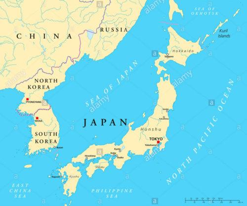 North Korea, South Korea, China, Japan, sea, map