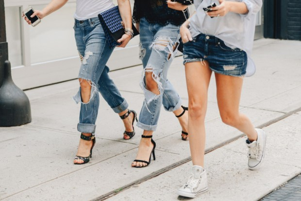 Denim Fashion Distressed Casual Jeans with Heels T Shirts Cell Phones Girl Power