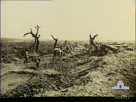 Guillemont - Montauban Road. The 2nd RSF and then 17th Manchesters advanced to Guillemont astride this road on 30th July 1916. Courtesy AWM Archive