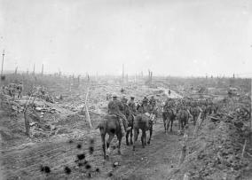 Cavalry passing through ruins of Guillemont 12.10.16 IWM Q60620