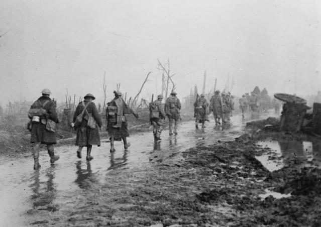 Soldiers coming out of the trenches at Guillemont. (Probably later than July 1916) IWM Q58340