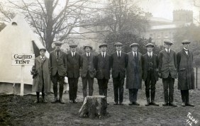 Frank Dunn - fifth from left - and other members of the Guard at Heaton Park. Postmark 21st October 1914. Courtesy Clive Dunn.