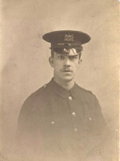 Private John Lewis wearing the 'Tram Guards' uniform provided by the City and replaces in early 1915 by khaki. Courtesy Helen Wolfenden