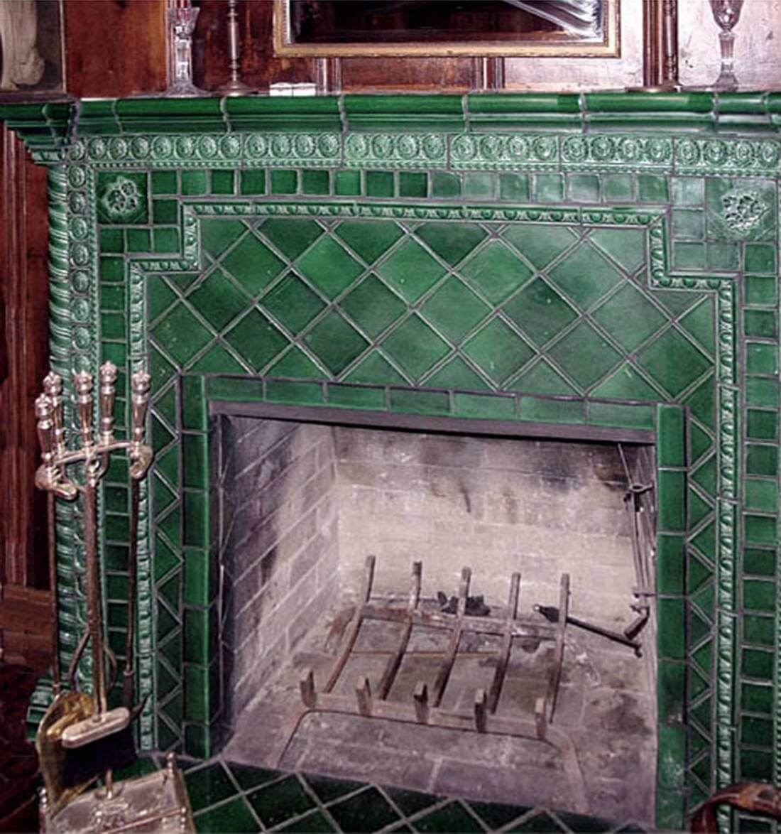 green ceramic tile fireplace why tile