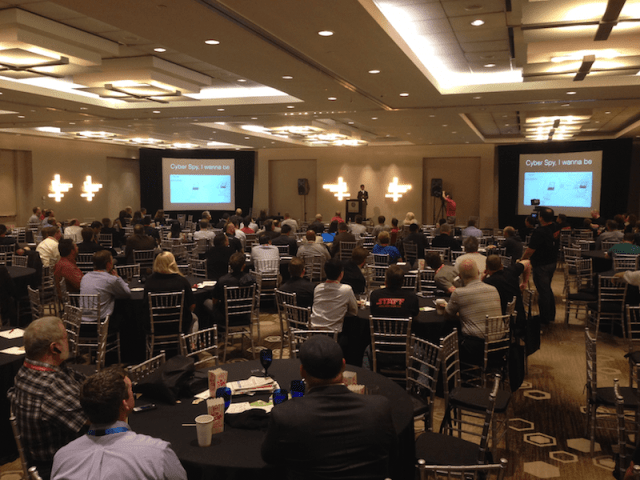 Delivering my keynote to a houseful at Hou.Sec.Con 5.0