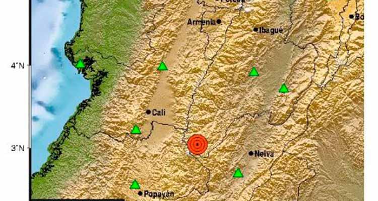 Temblor epicentro en el Nevado del Huila