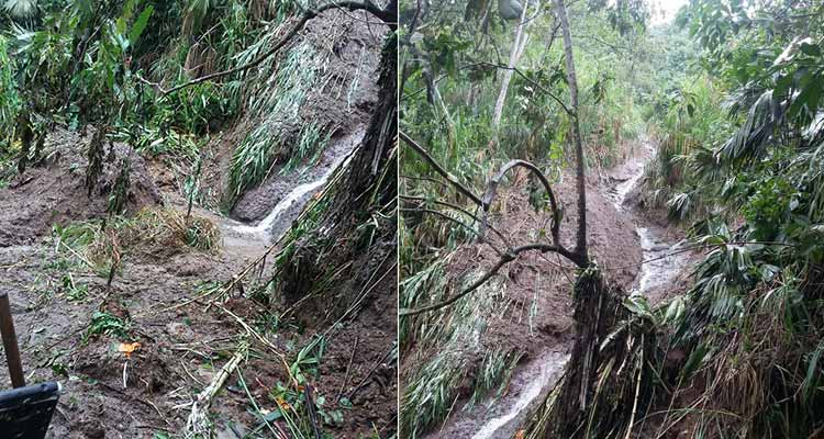 Grave derrumbe dejó sin agua a Montenegro este viernes