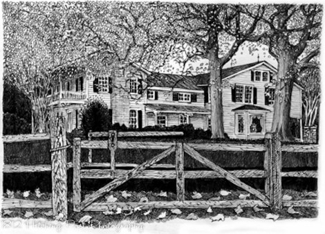 The 1812 Hitching Post, drawing by Patrick D. Waldron
