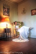 Bride in living room chair
