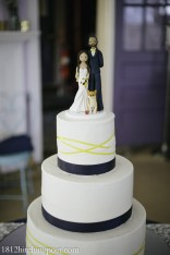 Yellow and navy wedding cake