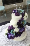 Turquoise and deep purple wedding cake