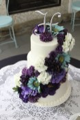 Turquoise and deep purple wedding cake