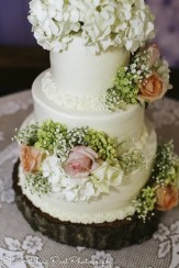 Clusters of soft blossoms on smooth wedding cake