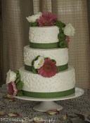 Green ribbons and flowers with fushia wedding cake