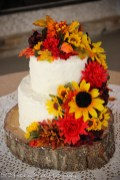 Autumn rough iced cake with silk fall flowers