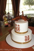 Chinese good luck on gold and red wedding cake