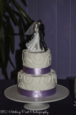 Lilac ribbon on wedding cake