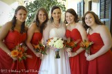 Bride and bridesmaids in Persimmon