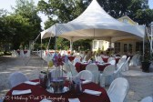 The tent with brightly set tables
