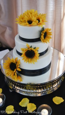 Sunflower and navy wedding cake