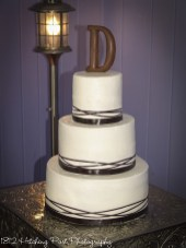 Chocolate ribbon and chocolate initial topper