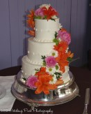 Tropical colors wedding cake