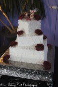 Offset squares with piping and red roses