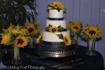 Sunflowers and navy on cake