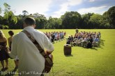 Musician plays for unity cross